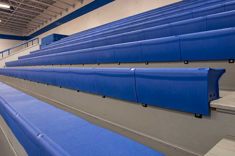 Set of Blue Bleachers in High School