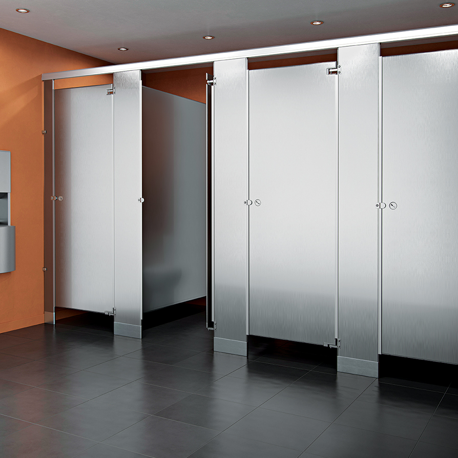 School bathroom partitions single occupant stall many for Stainless steel bathroom partitions