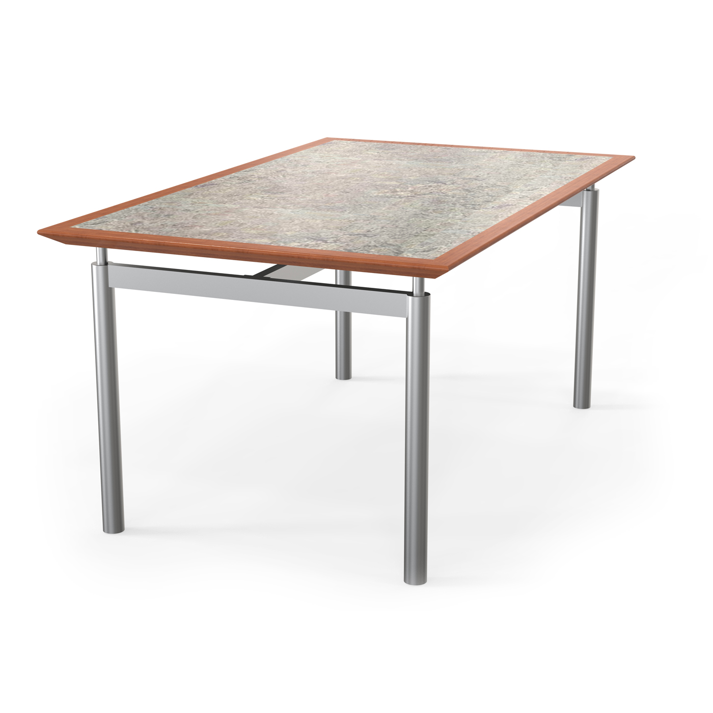 library table made of metal and wood