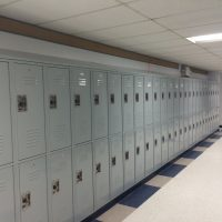 gray lockers in hallway