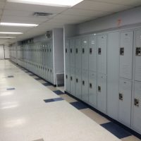installed gray lockers in hallway
