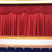 curtain closed on stage