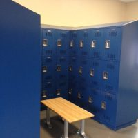 blue lockers in locker room