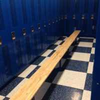 installed blue lockers in locker room
