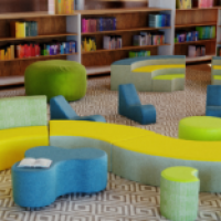 Classroom furnished with unique seating options from Fomcore